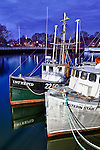 Fishing boats docked at the commercial pier in Portsmouth, New Hampshire. HDR.