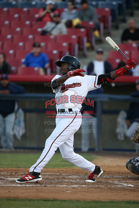 Travis Demeritte (2) of the High Desert Mavericks bats against the Lancaster JetHawks at Heritage Field on April 23, 2016 in Adelanto, California. High Desert defeated Lancaster, 10-9. (Larry Goren/Four Seam Images)