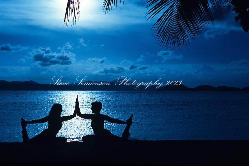 Yoga on the beach.Caneel Bay Resort.St John, US Virgin Islands