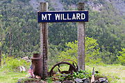 The site of the Mt. Willard Section House along the old Maine Central Railroad, next to the Willey Brook Trestle, in Crawford Notch State Park of New Hampshire. This section house, built by the Maine Central Railroad in 1887, housed the section foreman and crew who maintained the track. From 1903-1942, the Hattie Evans family lived at the house. It was destroyed by fire in 1972.