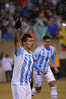 Argentina soccer player Sergio Agüero celebrates a gol during a friendly match between Argentina and Ecuador in New Jersey. 03.31.2015. Kena Betancur / VIEWpress.