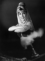 BNPS.co.uk (01202 558833)<br /> Pic: NBC/BNPS<br /> <br /> Barbara Eden, who plays the 2,000-year-old genie.<br /> <br /> The original genie bottle used in the iconic Sixties TV show I Dream of Jeannie has emerged for sale with an estimate of almost &pound;50,000.<br /> <br /> The distinctive prop was owned for more than three decades by the show's first director, who found the bottle in a store window and decided it would be perfect for the new show.<br /> <br /> I Dream of Jeannie, an NBC sitcom starring Barbara Eden as a 2,000-year-old genie and Larry Hagman as her master, astronaut Tony Nelson, was created by Sidney Sheldon in 1965, in response to the great success of rival network ABC's Bewitched.<br /> <br /> The bottle will be sold at Julien's Auctions in Los Angeles on April 28.