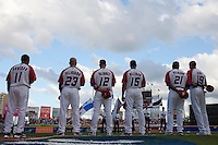 11 March 2009: Players of Puerto Rico stand during the national anthem prior to the 2009 World Baseball Classic Pool D game 6 at Hiram Bithorn Stadium in San Juan, Puerto Rico. Puerto Rico wins 5-0 over the Netherlands