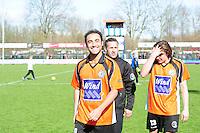 VOETBAL: URK: Sportpark 'de Vormt', SV Urk - Drachtster Boys, 14-04-2012, Zaterdag Hoofdklasse C, Zabih Etemadi (#10 DB) komt lachend het veld af na de 2e winst van dit seizoen, Trainer Jan van Raalte, Jacob Bras (#13 DB), Eindstand 2-3, ©foto Martin de Jong