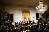 United States President Barack Obama speaks during a ceremony for 2016 Kennedy Center Honorees, in the East Room of the White House, December 4, 2016, Washington, DC. The 2016 honorees are: Argentine pianist Martha Argerich; rock band the Eagles; screen and stage actor Al Pacino; gospel and blues singer Mavis Staples; and musician James Taylor.<br /> Credit: Aude Guerrucci / Pool via CNP