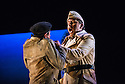 London, UK. 05.03.2013. English Touring Theatre's production of THE SIEGE OF CALAIS by Donizetti, opens at Hackney Empire, prior to touring. Picture shows: Cozmin Sime (Eduardo III, King of England - aloft). Photo credit: Jane Hobson.