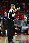 27 November 2015: Referee Jerry Heater. The North Carolina State University of North Carolina Wolfpack hosted the Winthrop University Eagles at the PNC Arena in Raleigh, North Carolina in a 2015-16 NCAA Division I Men's Basketball game. NC State won the game 87-79.