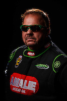 Feb 10, 2016; Pomona, CA, USA; NHRA top fuel driver Terry McMillen poses for a portrait during media day at Auto Club Raceway at Pomona. Mandatory Credit: Mark J. Rebilas-USA TODAY Sports