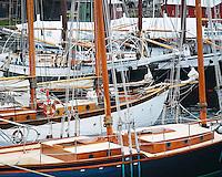 USA, Maine, Sailboats in harbor at Camden.