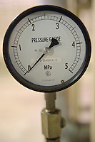 Pressure gauge, J-Power Isogo plant, Yokohama, Japan, September 29 2009. J-Power's coal burning power station near Tokyo is one of the most advanced and efficient in the world.