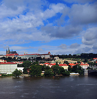Prague Castle, View of Prague Castle from the Charles Bridge, Medieval Castle, Summer in Prague, Vltava River in Prague<br />