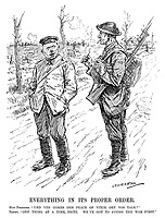 "Everything in its Proper Order. Hun Prisoner. ""Und ven comes der peace of vitch dey vos talk?"" Tommy. ""One thing at a time, Fritz. We've got to finish the war first."" (a British soldier talks to a German prisoner at the end of WW1)"