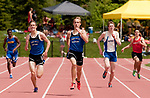 LITCHFIELD,  CT-052017JS15- Lewis Mills' Jon Lewis, center, took first place in the 400M dash with a time of 51:06, beating out teammate John Mudgett, left, and Shepaug's Sean Welsh, right, during the Berkshire League Outdoor Track and Field Championships Saturday at the Plumb Hill Sports Complex in Litchfield. <br /> Jim Shannon Republican-American