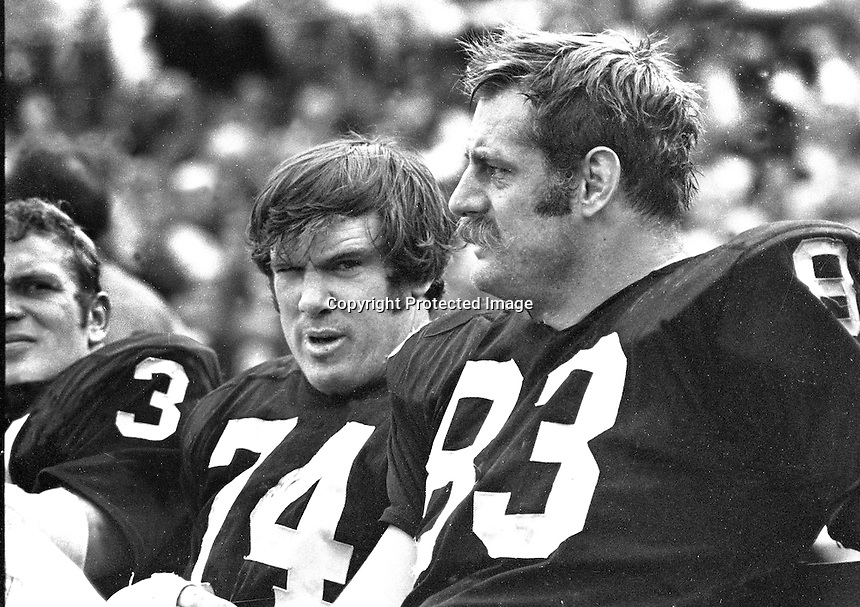 Oakland Raiders Gus Otto, Tom Keating, and Ben Davidson...(1970 photo/Ron Riesterer)