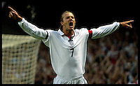David Beckham celebrates England's opening goal during the friendly international between England and Croatia, at Portman Road, Ipswich, on Wednesday 20th August 2003. Photo By AndrewParsons/PA