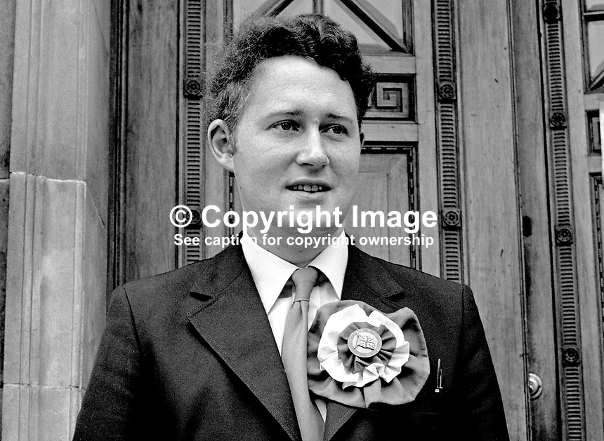 Clifford Smyth, Democratic Unionist, candidate, North Antrim, N Ireland Assembly Election, 1973. 197306000405a<br /> <br /> Copyright Image from Victor Patterson, 54 Dorchester Park, Belfast, UK, BT9 6RJ<br /> <br /> t: +44 28 90661296<br /> m: +44 7802 353836<br /> vm: +44 20 88167153<br /> e1: victorpatterson@me.com<br /> e2: victorpatterson@gmail.com<br /> <br /> For my Terms and Conditions of Use go to www.victorpatterson.com