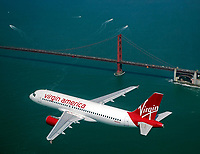aerial photograph Virgin America Airbus a320 Golden Gate bridge, San Francisco, California
