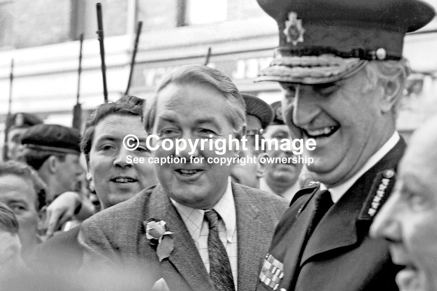 James Callaghan, UK Home Secretary, accompanied by John Hume, Derry Citizens' Action Committee, at his shoulder, and Sir Arthur Young, Commisioner of the City of London Police, who was later appointed Chief Constable of the RUC, at the start of their walkabout in the Bogside to meet local residents. 196908270002<br /> <br /> Copyright Image Larry Doherty c/o Victor Patterson, 54 Dorchester Park, Belfast, UK, BT9 6RJ<br /> <br /> t1: +44 28 90661296<br /> t2:  +44 28 90022446<br /> m: +44 7802 353836<br /> <br /> e1: victorpatterson@me.com<br /> e2: victorpatterson@gmail.com<br /> w: www.victorpatterson.com<br /> <br /> For my Terms and Conditions of Use go to www.victorpatterson.com