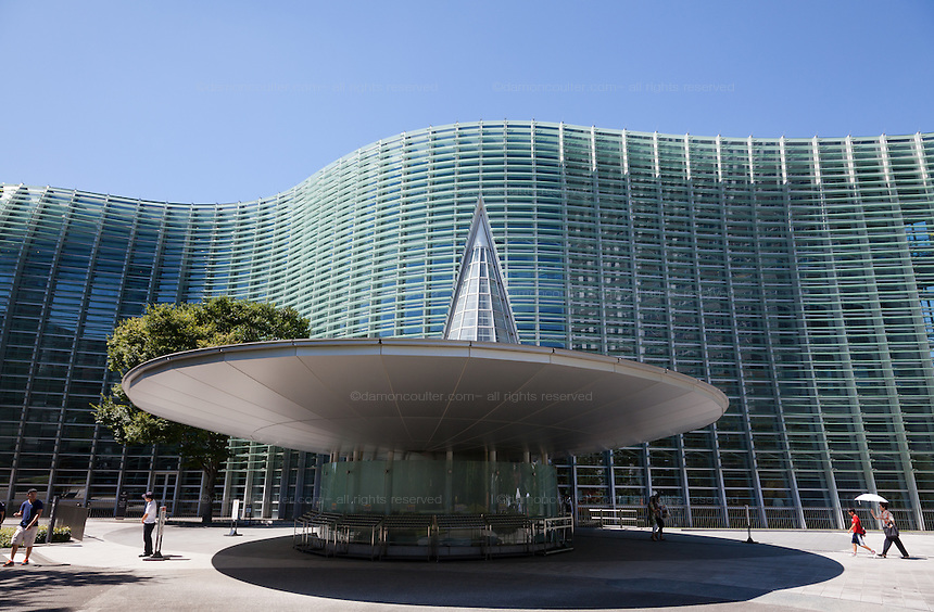 View of the distinctive National Art centre building in Roppongi,Tokyo, Japan. Friday August 22nd 2014