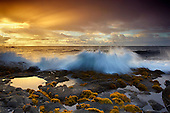 Waves crashing at dawn, Ahalanui, Puna, Big Island, Hawaii, USA