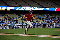 28 February 2010:    of the USC Trojans Baseball team during the first annual Dodgertown Classic at Dodger Stadium at Chavez Ravine. A college baseball round robin tournament sponsored by the MLB Los Angeles Dodgers. 14,588 were in attendance to watch the UCLA Bruins defeat the USC Trojans 6-1 on a sunny afternoon in Southern California.