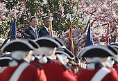 U.S. President Barack Obama welcomes British Prime Minister David Cameron during an official arrival ceremony at the South Lawn of the White House March 14, 2012 in Washington, DC. Prime Minister Cameron was on a three-day visit in the U.S. and he was expected to have talks with President Obama on the situations in Afghanistan, Syria and Iran.  .Credit: Mark Wilson - Pool via CNP