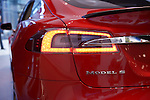 Closeup of Tesla Model S luxury electric car tail light outdoors