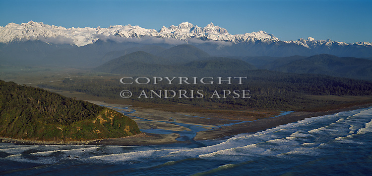 Aerial of the Waiho River and the Southern Alps. Westland National Park. New Zealand.