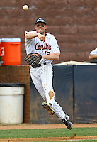 Virginia third baseman Steven Proscia throws to first base during the win over VMI. Photo/The Daily Progress/Andrew Shurtleff