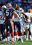 19 October 2008:  San Diego Chargers' linebacker Antwan Applewhite congratulates Buffalo Bills' quarterback Trent Edwards after the game at Ralph Wilson Stadium in Orchard Park, NY. The Bills defeated the Chargers 23-14 and maintain their first place position in the AFC East with a 5 and 1 record...Mandatory Photo Credit: Ed Wolfstein Photo