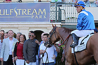 HALLANDALE BEACH, FL - FEBRUARY 11:  Almanaar (GB) #2 with jockey Joel Rosario in the winners circle after winning the Gulfstream Park Turf Handicap G1 at Gulfstream Park on February 11, 2017 in Hallandale Beach, Florida. (Photo by Liz Lamont/Eclipse Sportswire/Getty Images)