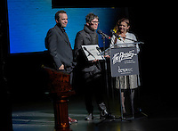 "New York City, NY. October 20, 2014. Mallory Catlett and colleagues accept the Bessie for Outstanding Visual Design for their work ""This Was The End"" during the The 30th anniversary of the New York Dance and Performance Awards. Photo by Marco Aurelio/VIEWpress"