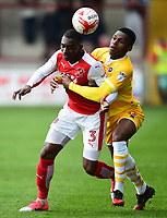 Fleetwood Town's Amari'i Bell battles with Millwall's Mahlon Romeo<br /> <br /> Photographer Richard Martin-Roberts/CameraSport<br /> <br /> The EFL Sky Bet League One - Fleetwood Town v Millwall - Monday 17th April 2017 - Highbury Stadium - Fleetwood<br /> <br /> World Copyright &copy; 2017 CameraSport. All rights reserved. 43 Linden Ave. Countesthorpe. Leicester. England. LE8 5PG - Tel: +44 (0) 116 277 4147 - admin@camerasport.com - www.camerasport.com