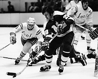 Seals vs Minnesota North Stars 1975. Stars Craig Cameron, Seals Larry Patey.(photo/Ron Riesterer)