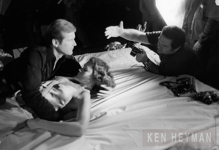 "Ken Heyman directing Roger Moore on the set of ""The Spy Who Loved Me."""