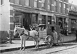 Horse-drawn delivery wagon for J. S. French's Bakery on South Main Street, Waterbury