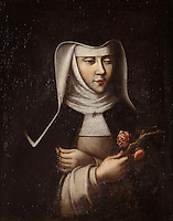 Portrait of St Agnes of Jesus, 1602-34, 18th century, by an unknown artist, in the Chapel of the Ecole Saint Joseph (Saint Joseph's school) at Le Puy en Velay, Haute Loire, Auvergne, France. St Agnes of Jesus, or St Agnes of Langeac, founded the Monastere Sainte Catherine de Sienne, or Monastery of St Catherine of Siena in Langeac in 1623, and was prioress from 1627. Picture by Manuel Cohen