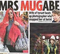 UK Daily Mirror Newspaper, Jan 2009, showing the incident where Grace Mugabe attacked photographer Richard Jones. ©sinopix