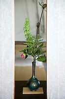 Cut flowers and leaves from the garden at Hosen-in arranged in a blue Japanese vase