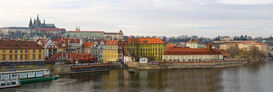 PRAGUE, CZECH REPUBLIC - MARCH 18th 2011: Panoramic view of the City of Prague and Vltava River. This is a 75MP image. EDITORIAL USE ONLY.