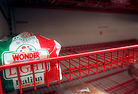 A lone loaf of Wonder Light Italian Bread sits on a supermarket shelf in this file photo. Interstate Bakeries, the maker of Twinkies as well as Wonder Bread and Drake's Cakes products, filed for bankruptcy on September 21, 2004 citing it's slowness to adapt to the Atkins craze and other trends in the bread business. Interstate is one of the world's largest manufacturers of baked goods with 32,000 employees and 54 bakeries. (© Frances M. Roberts)