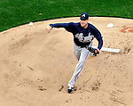 31 March 2011: Atlanta Braves starting pitcher Derek Lowe on the mound during Opening Day action against the Washington Nationals at Nationals Park in Washington, District of Columbia. Lowe earned his first win as the Braves shut out the Nationals 2-0 to start off the 2011 Major League Baseball season. Mandatory Credit: Ed Wolfstein Photo