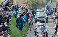 race leaders Greg Van Avermaet (BEL/BMC), Philippe Gilbert (BEL/Quick Step floors) &amp; Oliver Naesen (BEL/AG2R-LaMondiale) detached themselves from a bigger group on the Oude Kwaremont<br /> <br /> 60th E3 Harelbeke (1.UWT)<br /> 1day race: Harelbeke &rsaquo; Harelbeke - BEL (206km)