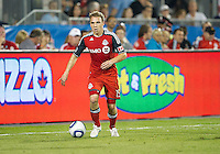 27 August 2011: Toronto FC midfielder Matt Stinson #15 in action during a game between the San Jose Earthquakes and Toronto FC at BMO Field in Toronto..The game ended in a 1-1 draw.