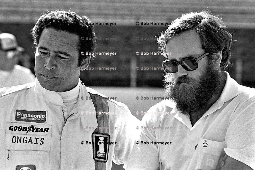 INDIANAPOLIS, IN - MAY 25: Danny Ongais (left) and car owner Ted Field in the pit lane before practice for the Indy 500 at the Indianapolis Motor Speedway in Indianapolis, Indiana, on May 25, 1980.