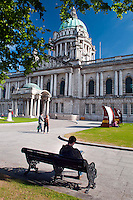 Belfast, Northern Ireland, United Kingdom, May 2011. Belfast City Hall. For decades travellers stayed away from the sectarian violence, but since the end of'The Troubles' more and more people start discoving the beauty of Belfast and the Antrim Coast Causeway. Photo by Frits Meyst/Adventure4ever.com