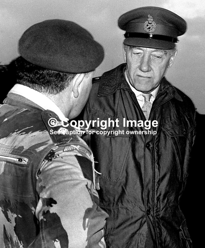 Sir Geoffrey Baker, Chief of the General Staff, British Army, United Kingdom, meets a soldier during a visit to N Ireland. 1971010117GB3.<br /> <br /> Copyright Image from Victor Patterson, 54 Dorchester Park, Belfast, UK, BT9 6RJ<br /> <br /> t1: +44 28 9066 1296<br /> t2: +44 28 9002 2446<br /> m: +44 7802 353836<br /> <br /> e1: victorpatterson@me.com<br /> e2: victorpatterson@gmail.com<br /> <br /> www.victorpatterson.com<br /> <br /> IMPORTANT: Please see my Terms and Conditions of Use at www.victorpatterson.com