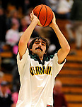 13 February 2011: University of Vermont Catamount forward Evan Fjeld, a Senior from Durham, NC, warms up prior to a game against the Binghamton University Bearcats at Patrick Gymnasium in Burlington, Vermont. The Catamounts came from behind to defeat the Bearcats 60-51 in their America East matchup. The Cats took part in the National Pink Zone Breast Cancer Awareness Program by wearing special white jerseys with pink trim. The jerseys were auctioned off following the game with proceeds going to the Vermont Cancer Center. Mandatory Credit: Ed Wolfstein Photo