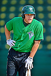 19 July 2012: Vermont Lake Monsters infielder Chad Lewis awaits his turn in the batting cage prior to a game against the Tri-City ValleyCats at Centennial Field in Burlington, Vermont. The ValleyCats defeated the Lake Monsters 6-3 in NY Penn League action. Mandatory Credit: Ed Wolfstein Photo