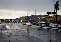Jul 23, 2016; Morrison, CO, USA; Rain on the track during a delay to NHRA qualifying for the Mile High Nationals at Bandimere Speedway. Mandatory Credit: Mark J. Rebilas-USA TODAY Sports